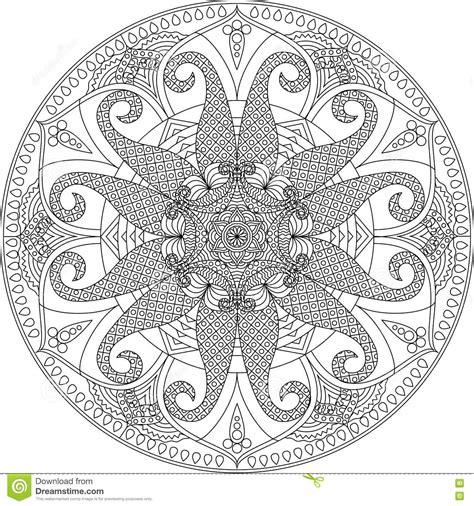 adult coloring page mandala stock vector illustration