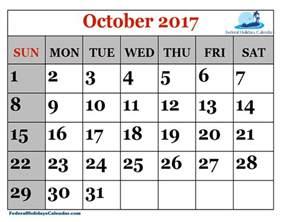 October 2017 Calendar with Holidays Printable