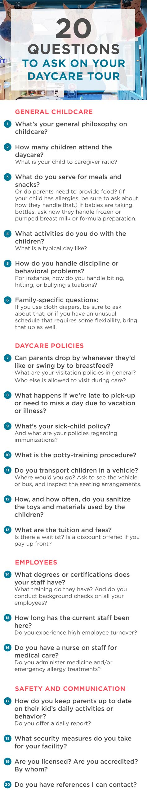 top 20 questions to ask at your daycare tour 200 | 20questions daycare tour pin cezbsn