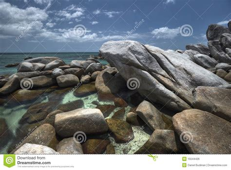 exotic rocky beach  belitung island stock photo image