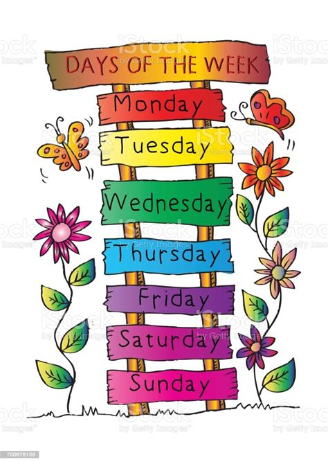 Days Of The Week With Name Plate Stock Illustration ...