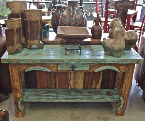 reclaimed green  brown rustic console table  painted  love agave ranch furniture