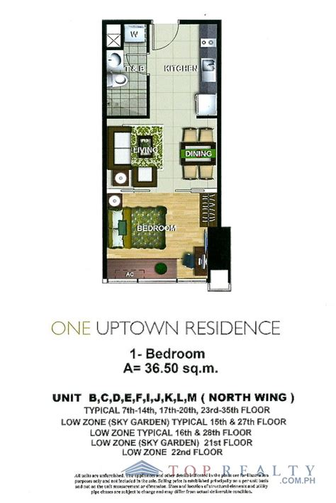 One Bedroom Unit Layout by Top Realty Corporation Ir88096 Nicely Furnished One