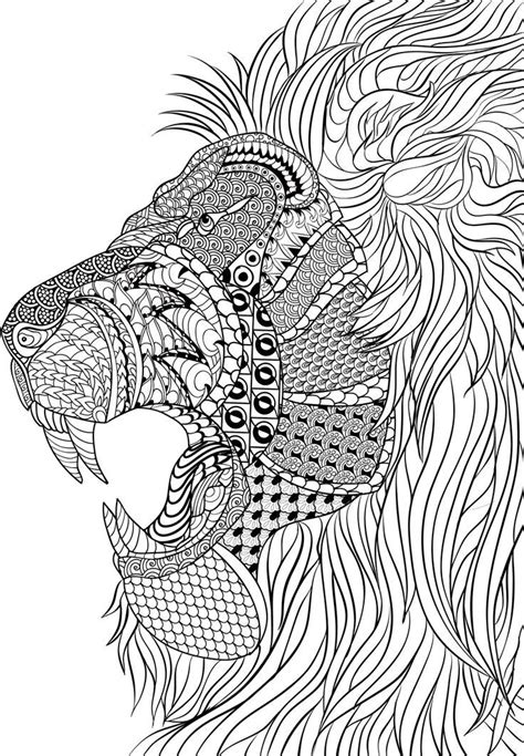 lion zentangle animal coloring pages  adults pinterest zentangle  lions
