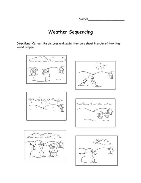kindergarten cut  paste weather worksheets