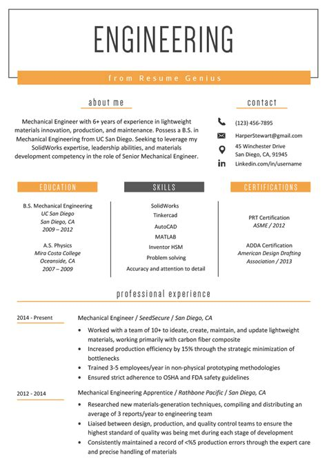 engineering resume  writing tips resume genius