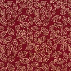 crimson burgundy and gold small decorative leaf pattern
