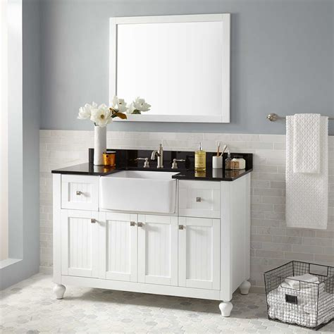 nellie farmhouse sink vanity white bathroom