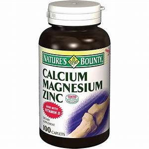 Nature U0026 39 S Bounty Calcium Magnesium Zinc Dietary Supplement Caplets 100 Count