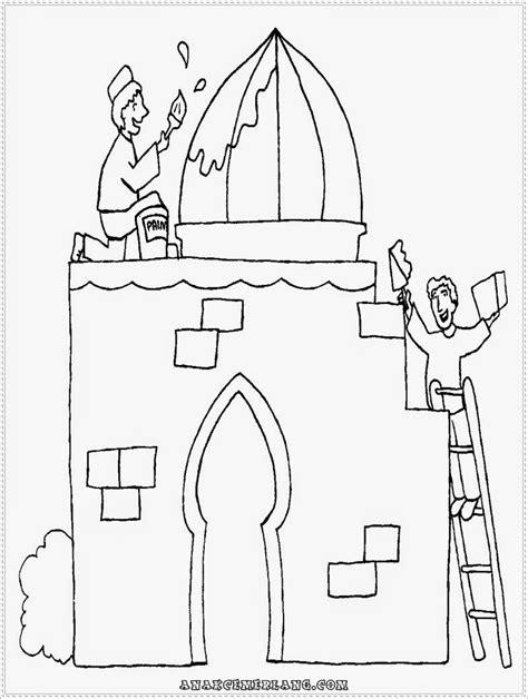 mewarnai gambar  membangun masjid anak cemerlang