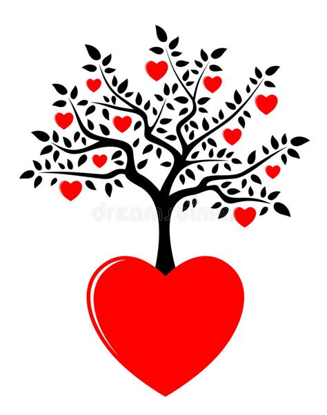 Heart Tree Growing From Heart Stock Vector Illustration