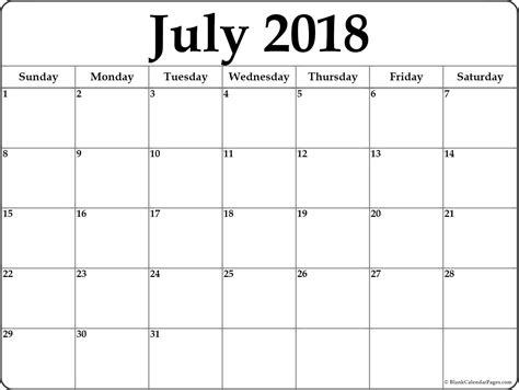july calendar template july 2018 free printable blank calendar collection
