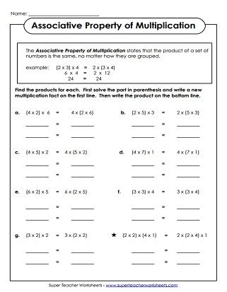 properties of multiplication worksheets