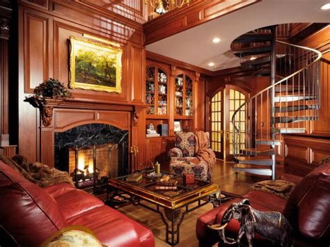 home library  rich wood  spiral staircase hgtv