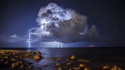 Lightning Storm Sea Stones 4k Uhd Wallpapers