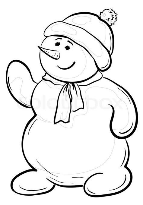 cartoon snowmen boy   cap  scarf contours stock photo colourbox