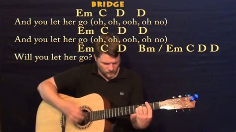 Let Her Go (passenger) Strum Guitar Cover Lesson With Chords / Lyrics