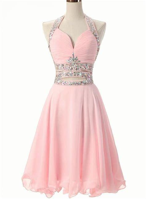 pink beaded short chiffon  style formal dress