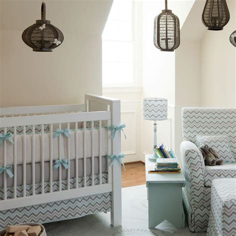 Mist And Gray Chevron Crib Bedding  Neutral Baby Bedding