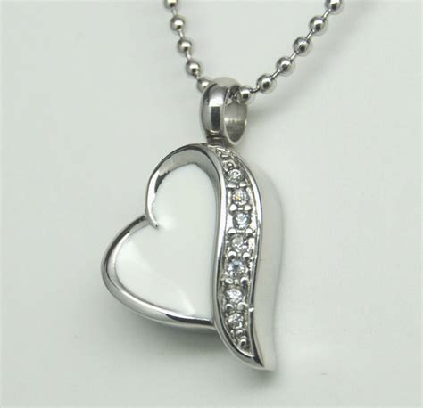 pretty white heart cremation urn necklace cremation
