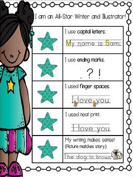 kid writing rubric kindergarten  star writers rubric
