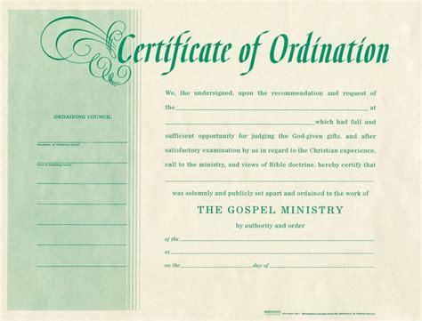 blank certificate  ordination ordination
