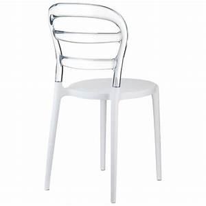 Chaise Design Blanche : chaise design 39 baro 39 blanche et transparente en achat vente chaise salle a manger pas cher ~ Teatrodelosmanantiales.com Idées de Décoration
