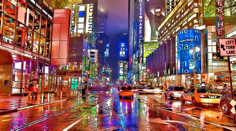 Shower Curtains Canada Online by Times Square At Night In New York City Painting By Lanjee Chee