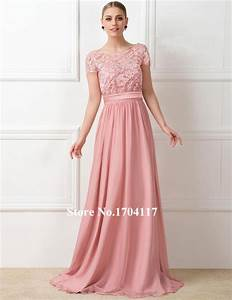 Lovely Peach Color Short Sleeve Long Bridesmaid Dresses ...