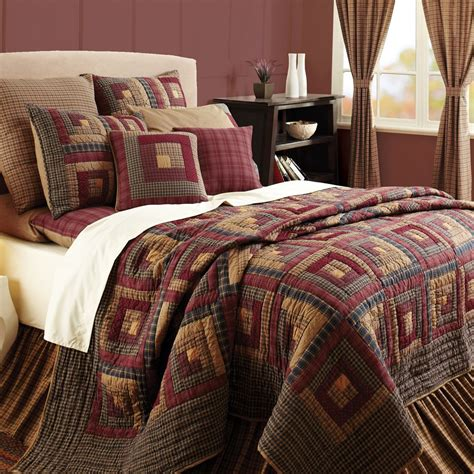 Size Bedspreads And Quilts by Burgundy Lodge Log Cabin Block Oversized Cal