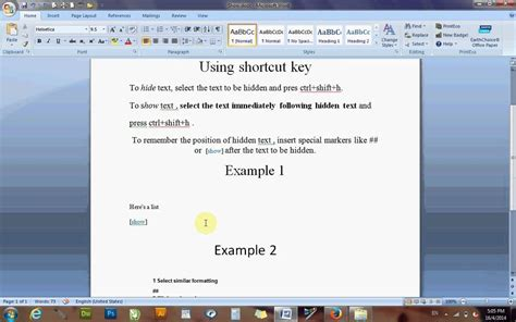 Showhide Text In Word 2007 Using Shortcut Keys Youtube