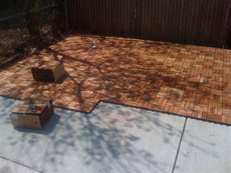 ikea platta decking goes right cement outdoor