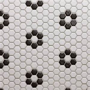 Glazed porcelain 1quot hexagon mosaics white with black rose for Black and white hexagon tile floor