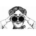 Binoculars Lady Woman Cartoon Clipart Staring Clip