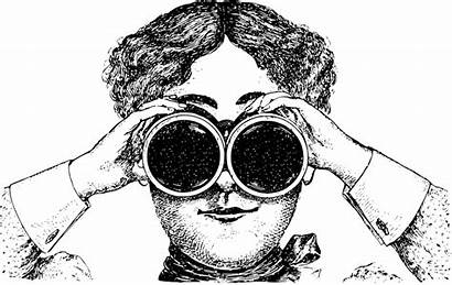 Binoculars Lady Clipart Woman Clip Cartoon Staring