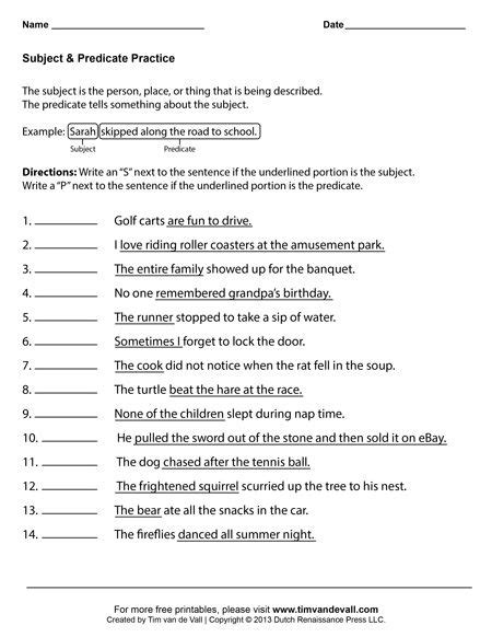 subject and predicate worksheets grade language