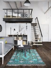 Decorative Bedroom Loft Plans by Small Modern Loft In Prague With Scandinavian Style Decor