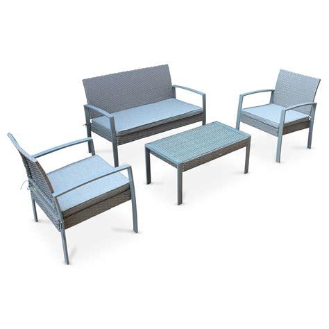 ensemble de jardin en r 233 sine tress 233 e vicenzo salon 4 places gris coussins gris chin 233 fauteuil
