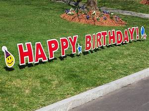 Birthday yard sign by my yard card the grommet for Happy birthday yard letters