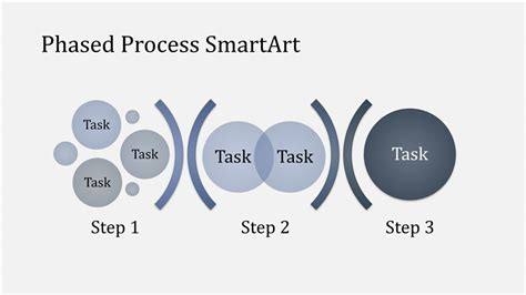 phased process chart smartart  lightdark blue