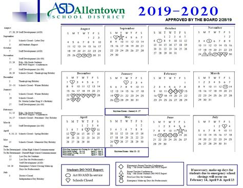 academic rating periods district calendar allentown school district