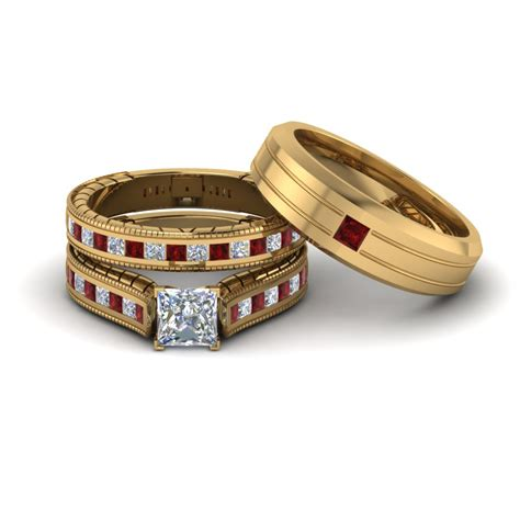 wedding ring sets with rubies buy our ruby trio wedding ring sets at affordable price