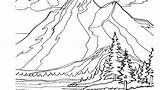 Coloring Mountain Range Rocky Template sketch template