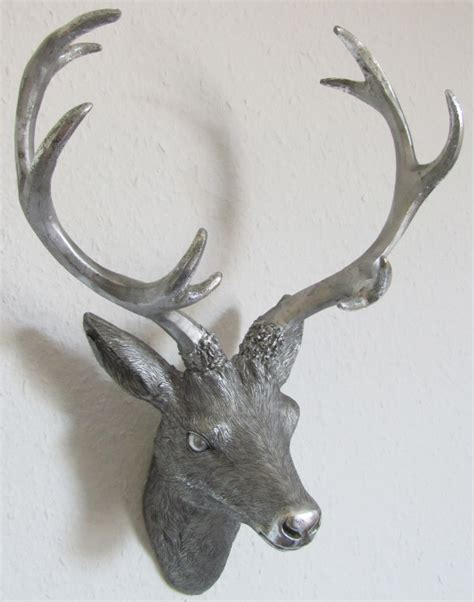 geweih deko silber hirschgeweih hirschkopf geweih 10 ender in silber optik 14 x12 x 30cm mc8030si ebay