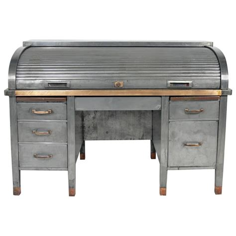industrial desk for sale 1930s banker 39 s metal roll top industrial desk for sale at