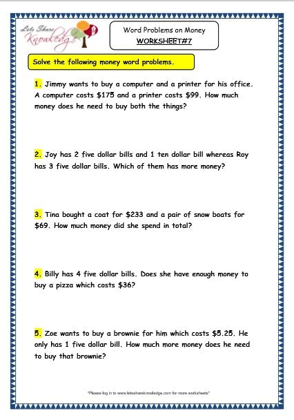 money problem solving worksheets grade 2 cheap paper