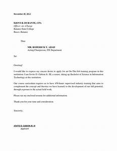 application letter for ojt students may the managersir