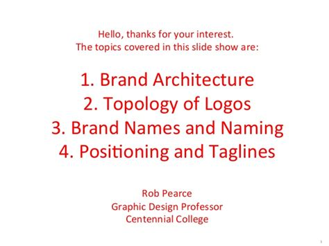 brand architecture logo topology naming  tag lines