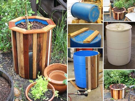 plastic barrel planter plastic barrel and pallets got recycled into this amazing