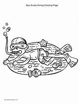 Coloring Scuba Diving Boy Pages Printable Getcolorings sketch template